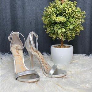 Sam Edelman Ankle Strap Silver Heels, 7.5